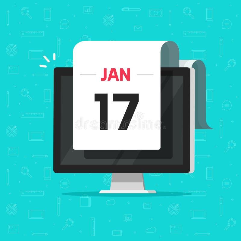 Kalenderdatum op de vectorillustratie van het computerscherm, vlakke beeldverhaalkalender op de vertoning van Desktoppc, idee van vector illustratie