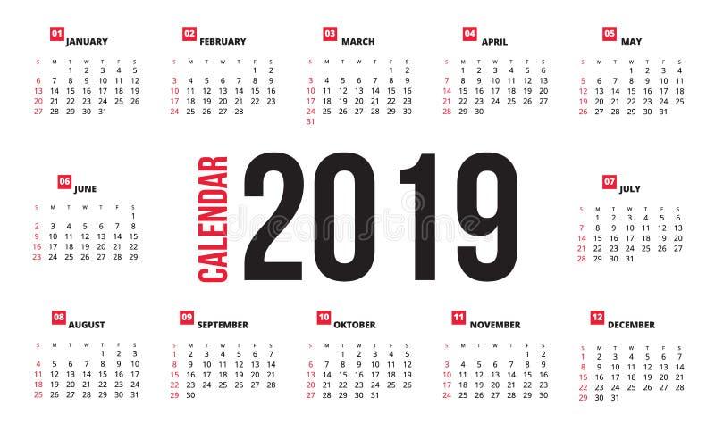 Kalenderdesign för 2019 royaltyfri illustrationer