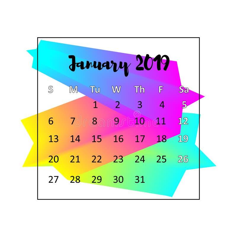 Kalenderdesignbegrepp 2019 Januari 2019 stock illustrationer