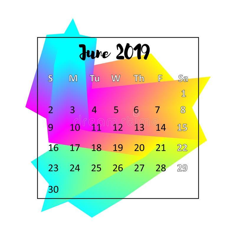 Kalenderdesignbegrepp 2019 Juni 2019 royaltyfri illustrationer