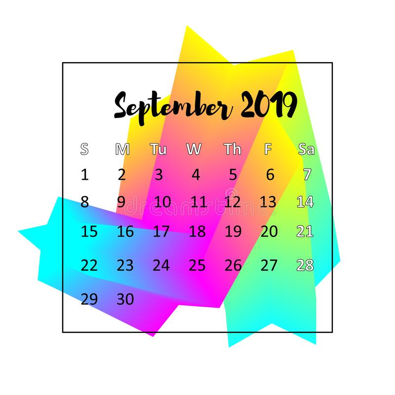 Kalenderdesignbegrepp 2019 September 2019 royaltyfri illustrationer