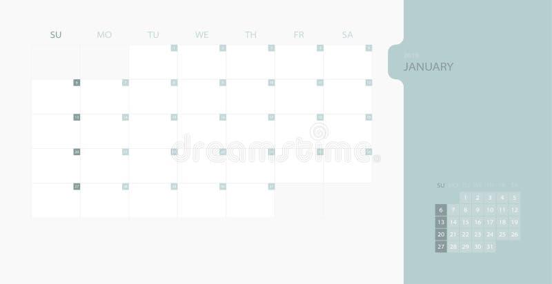 Kalenderdesignmall för enkel stadsplanerare 2019 för den Januari månaden, veckastarter på söndag Designtryckmall med stället för  vektor illustrationer