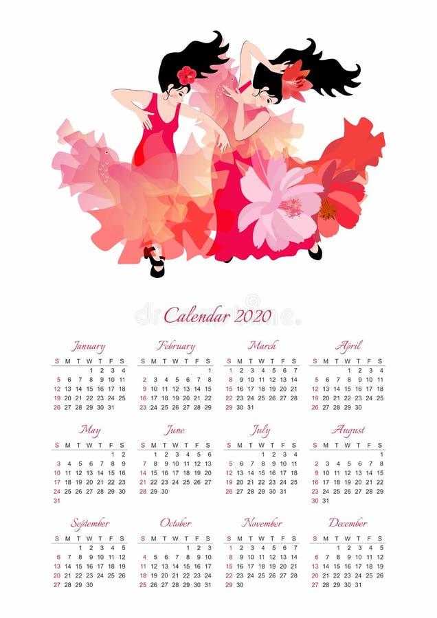 Kalenderentwurf für 2020-jähriges mit zwei schönen Mädchen in den langen roten Kleidern, die Flamenco tanzen vektor abbildung