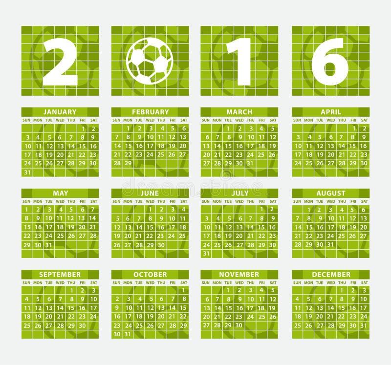Kalenderfotbollbegrepp 2016 royaltyfri illustrationer