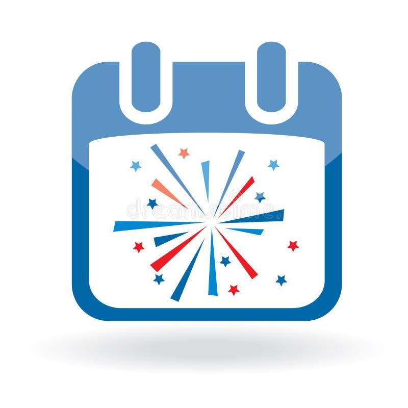 kalenderfyrverkerisymbol stock illustrationer