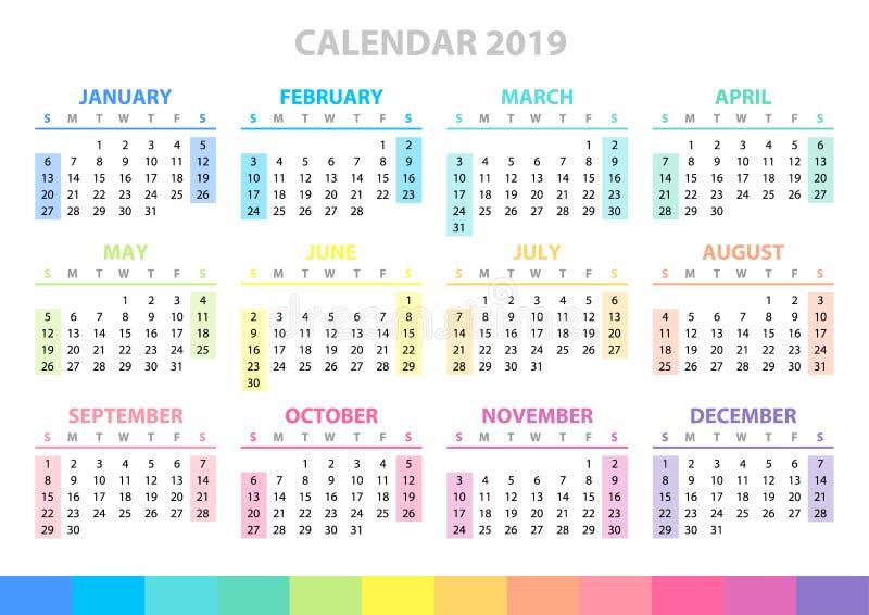 Kalendergitter für 2019-jähriges Schablone für Ihre Auslegung Anfänge einer neue Woche am Sonntag vektor abbildung