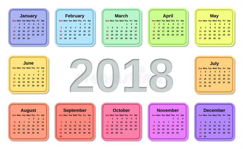 2018 kalenderjaar Vector illustratie Malplaatjeontwerper royalty-vrije illustratie