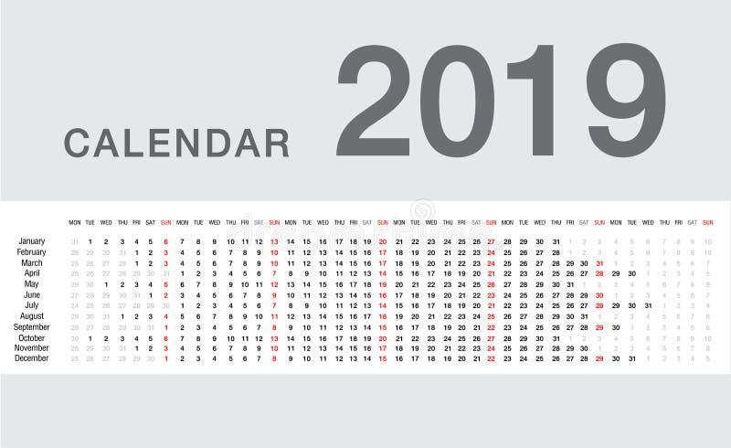 Kalenderjahrvektorentwurfs-Schablonen- 2019, einfacher und saubererentwurf lizenzfreie abbildung