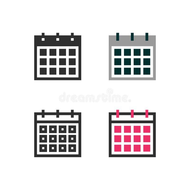 Kalendermånadsymboler stock illustrationer