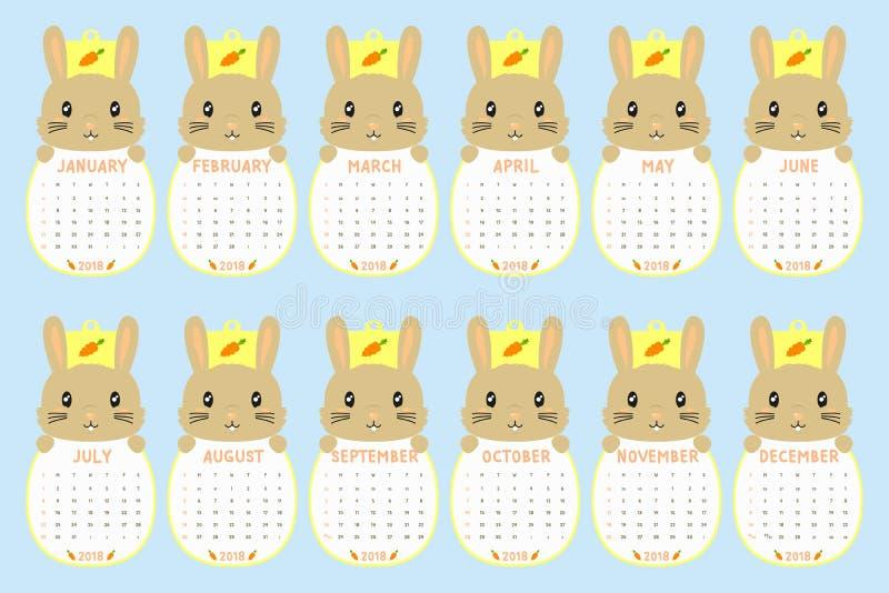 2018 Kalendermalplaatje Gestalte gegeven dier, Leuke het Beeldverhaalvector van de Konijnkalender vector illustratie