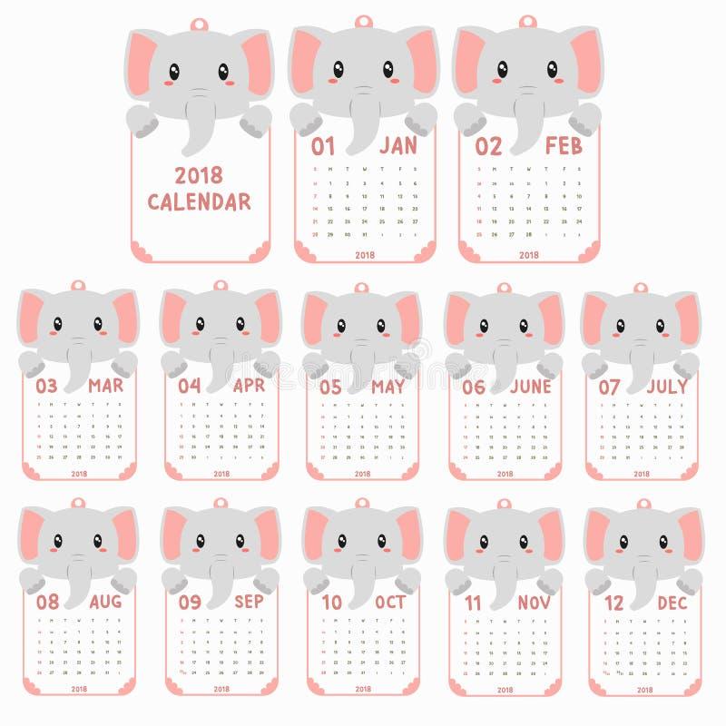 2018 Kalendermalplaatje Gevormd dier, de Vector van het de Kalenderbeeldverhaal van de Babyolifant stock illustratie
