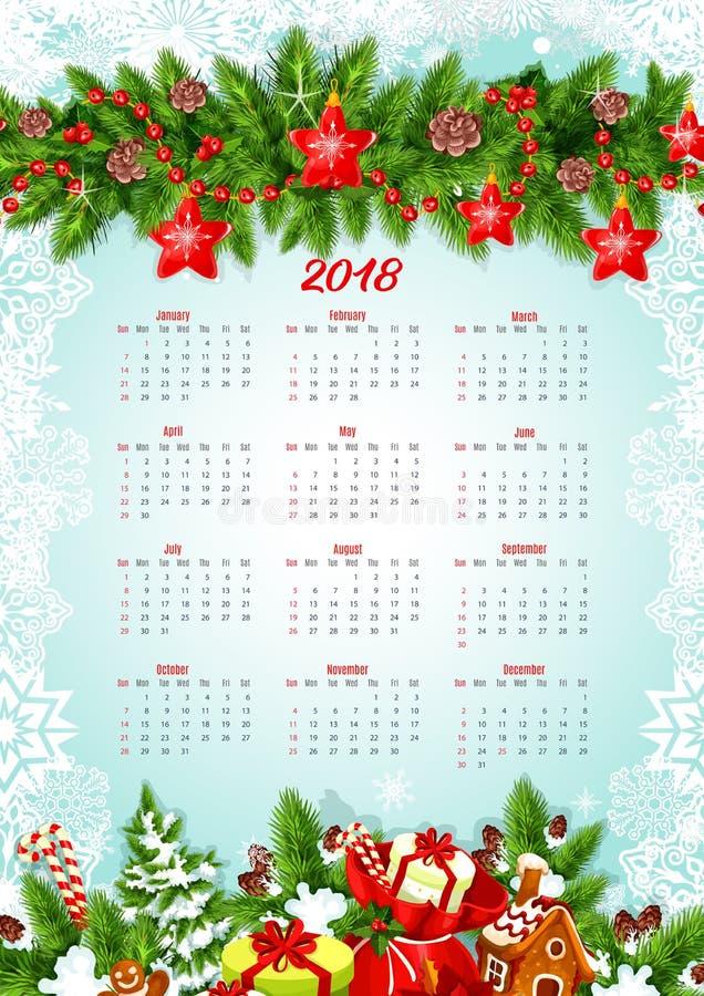 Kalendermalplaatje met Kerstmisslinger en giften royalty-vrije illustratie