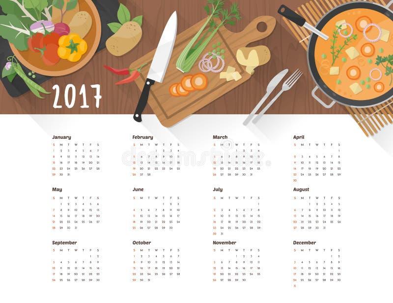 Kalendermat 2017 royaltyfri illustrationer