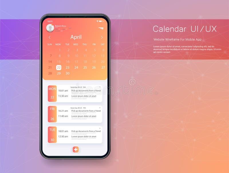 Kalendermobiele toepassing Het Modelvector van het takenui UX Ontwerp Het malplaatjelay-out van GUI UI UX Tijdschema widget vector illustratie