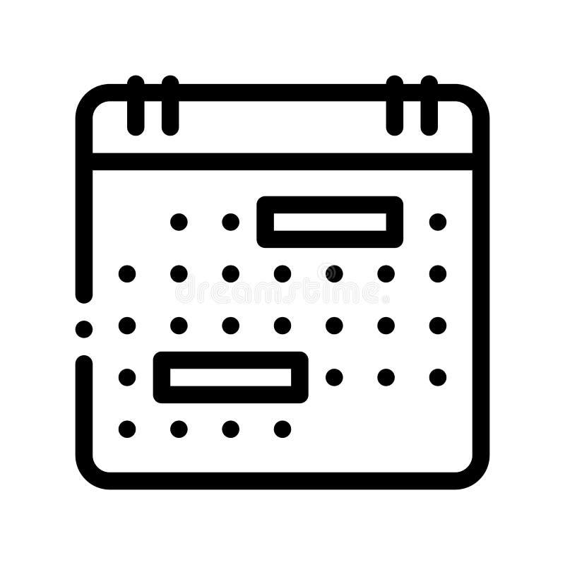 Kalendermonats-Seiten-Vektor-Zeichen-dünne Linie Ikone stock abbildung