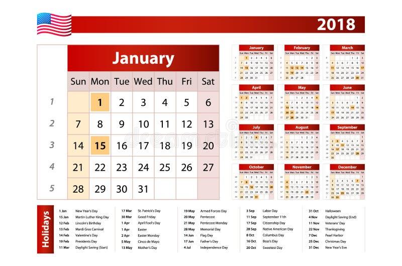 Kalendern för 2018 med noterat USA semestrar på vit bakgrund Veckastarter på söndag Tillståndsferier av USA markeras enkelt royaltyfri illustrationer