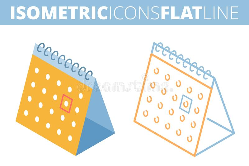 Kalendern Isometriska sänker skisserar 3d och symbolsuppsättningen stock illustrationer