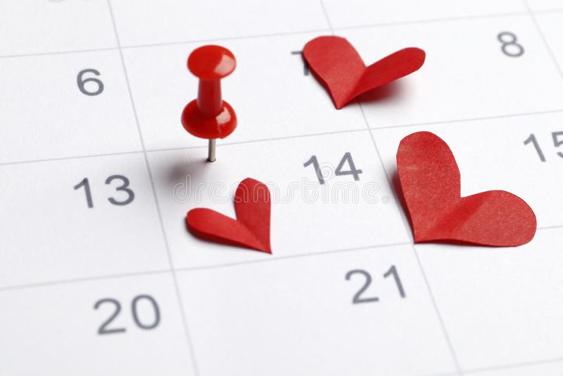 Kalendern med datumet av Februari 14 arkivbilder