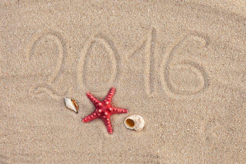 Kalendern med sjöstjärnan och snäckskal på sand sätter på land räkning royaltyfria bilder