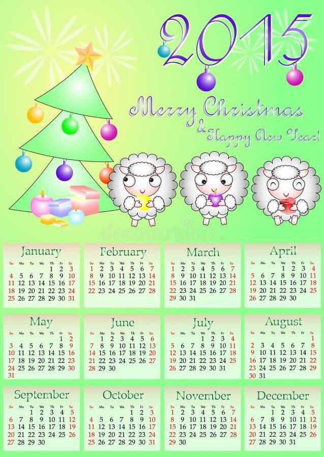 Kalendernet voor het jaar van 2015 met duidelijke weekenddagen stock illustratie