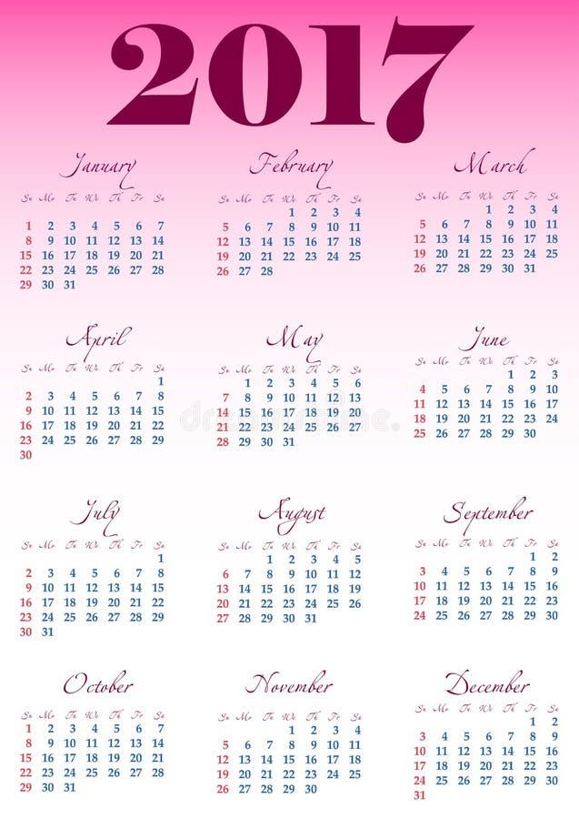 Kalendernet voor 2017 met genoteerde weekenddagen royalty-vrije illustratie