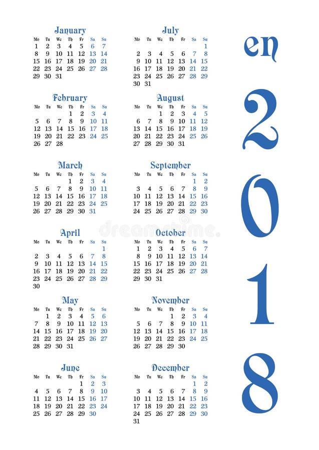 Kalendernet voor 2018 met genoteerde weekenddagen stock illustratie