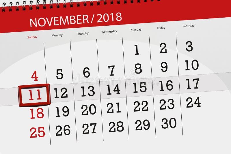 Kalenderontwerper voor de maand, uiterste termijndag van de week 2018 11 november, Zondag stock fotografie