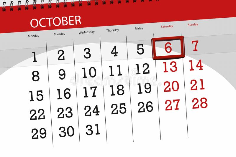 Kalenderontwerper voor de maand, uiterste termijndag van de week 2018 6 oktober, Zaterdag royalty-vrije stock afbeeldingen