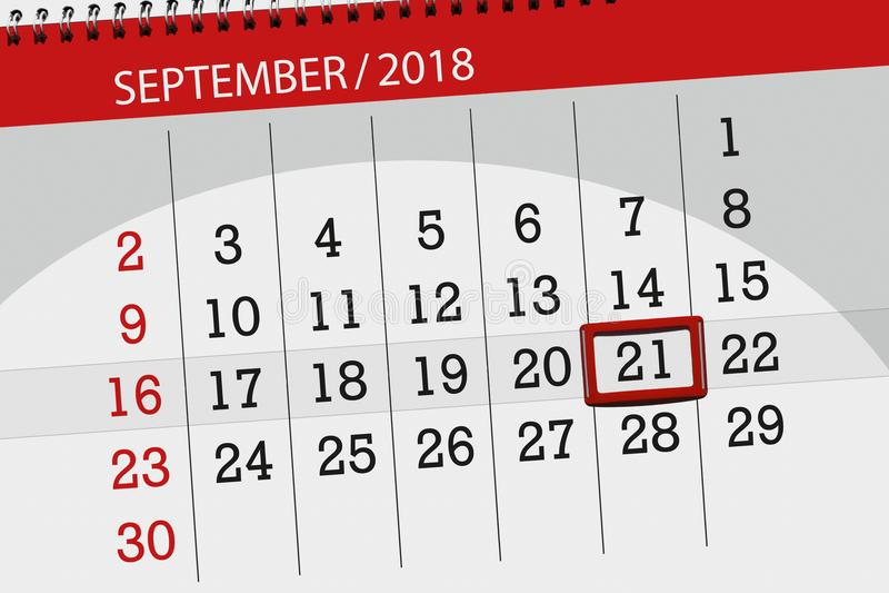 Kalenderontwerper voor de maand, uiterste termijndag van de week, 2018 21 september, Vrijdag stock foto