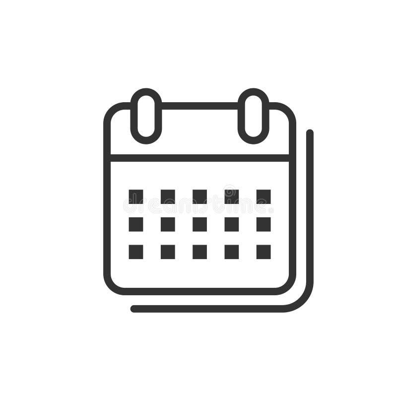 Kalenderorganisatörsymbol i plan stil Illustration för tidsbeställningshändelsevektor på vit isolerad bakgrund Månadstopptidaffär stock illustrationer