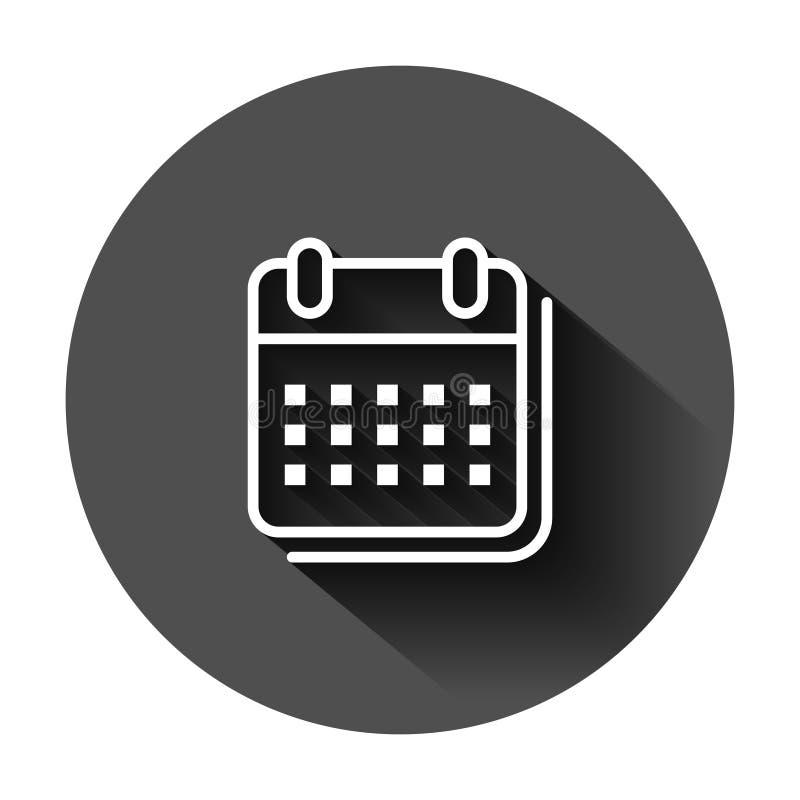 Kalenderorganisat?rsymbol i plan stil Illustration f?r tidsbest?llningsh?ndelsevektor p? svart rund bakgrund med l?ng skugga m?na royaltyfri illustrationer
