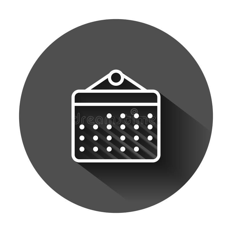 Kalenderorganisat?rsymbol i plan stil Illustration f?r tidsbest?llningsh?ndelsevektor p? svart rund bakgrund med l?ng skugga m?na stock illustrationer