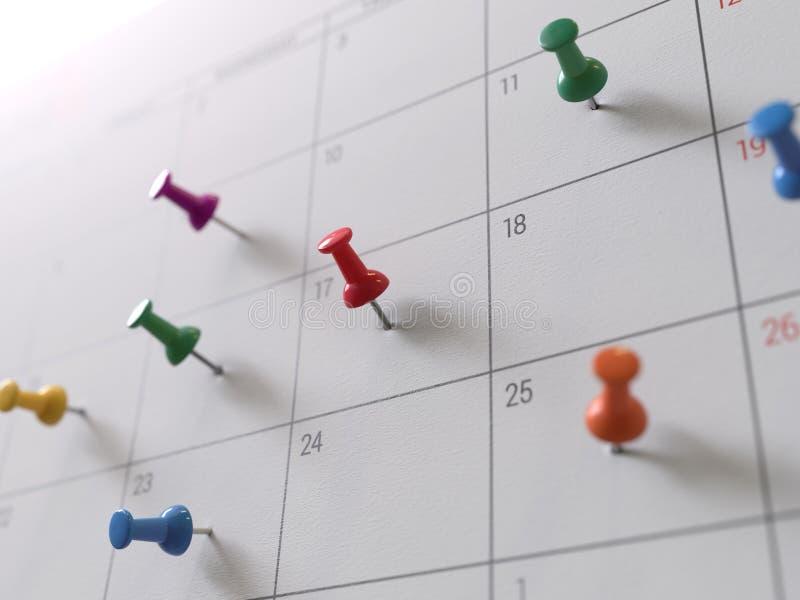 Kalenderpagina met tekening-spelden stock foto