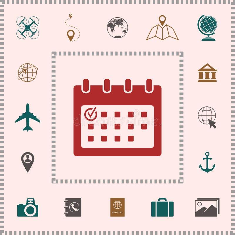 Kalenderpictogram met vinkje stock illustratie