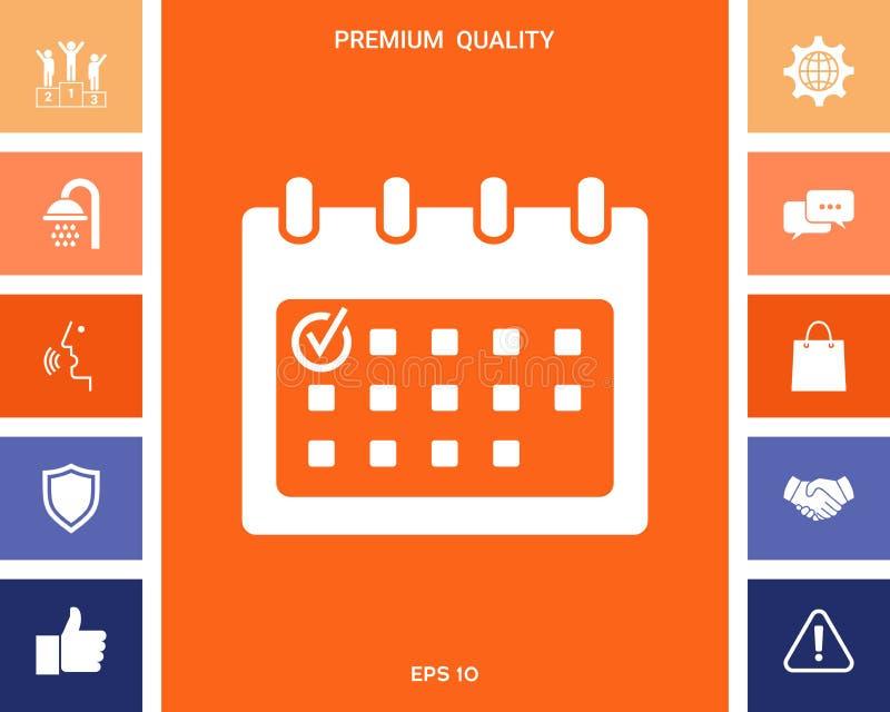 Kalenderpictogram met vinkje vector illustratie