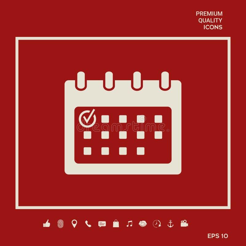 Kalenderpictogram met vinkje Grafische elementen voor uw ontwerp stock illustratie