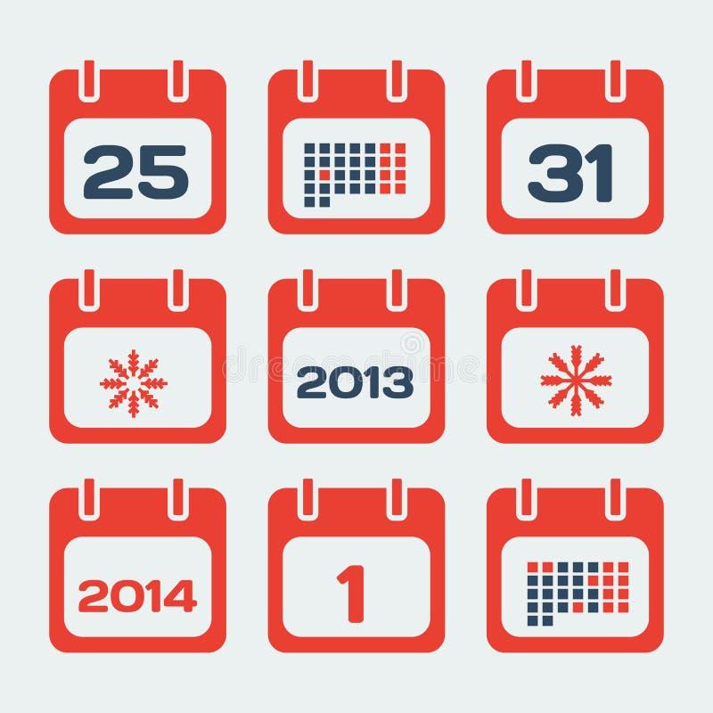 Kalenderpictogrammen stock illustratie