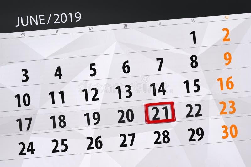 Kalenderplaner für den Monat im Juni 2019, Schlusstag, 21, Freitag stockbild