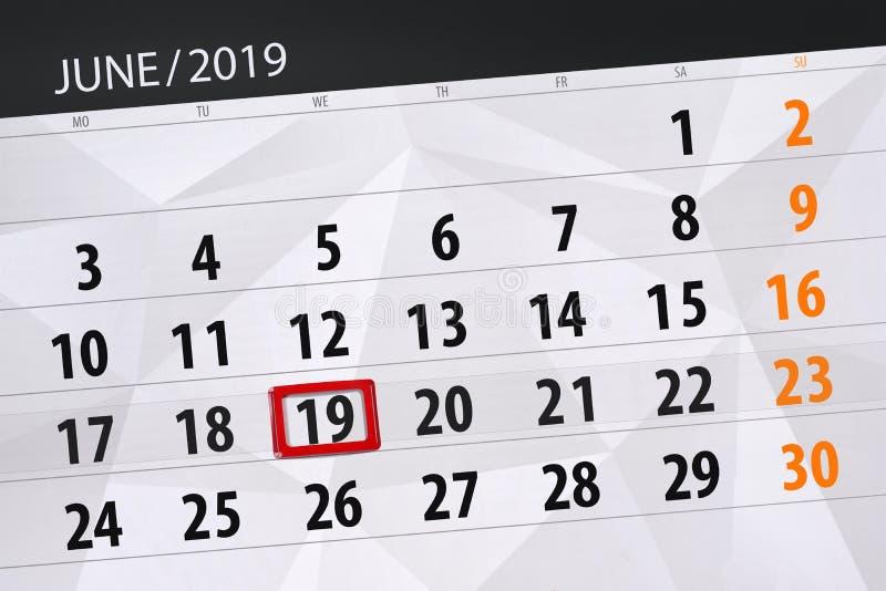 Kalenderplaner für den Monat im Juni 2019, Schlusstag, 19, Mittwoch lizenzfreie stockbilder