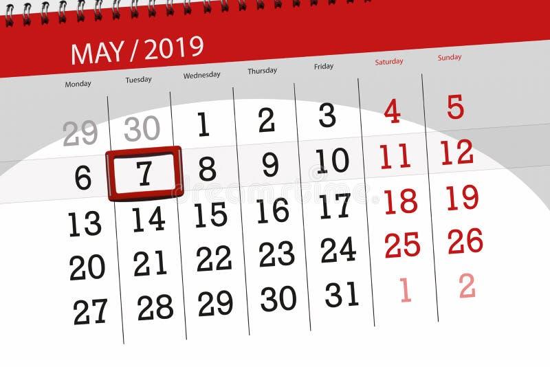 Kalenderplaner für den Monat kann 2019, Schlusstag, Dienstag 7 lizenzfreie stockbilder