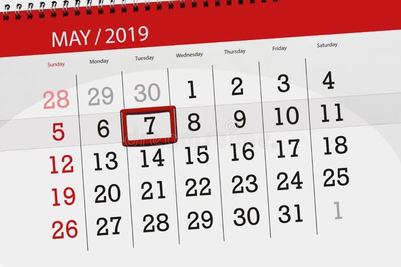 Kalenderplaner für den Monat kann 2019, Schlusstag, Dienstag 7 stockbilder