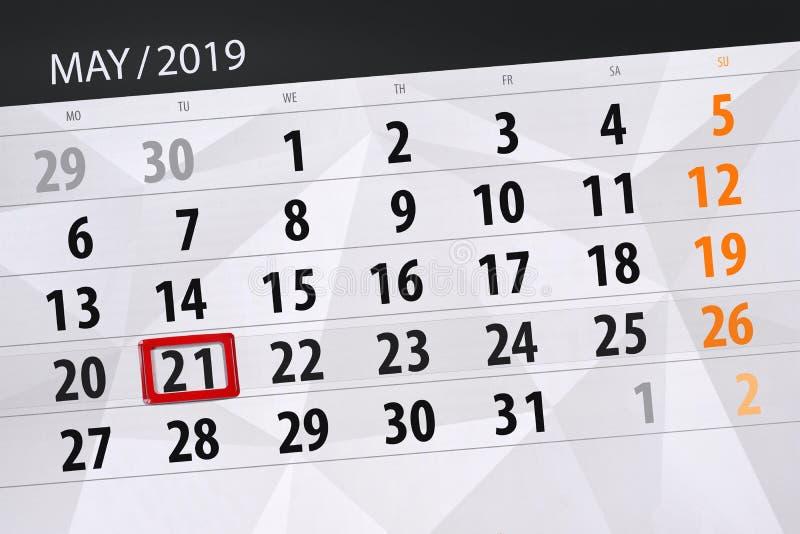 Kalenderplaner für den Monat kann 2019, Schlusstag, Dienstag 21 stockbilder
