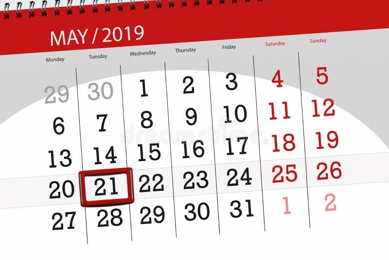 Kalenderplaner für den Monat kann 2019, Schlusstag, Dienstag 21 stockfotografie