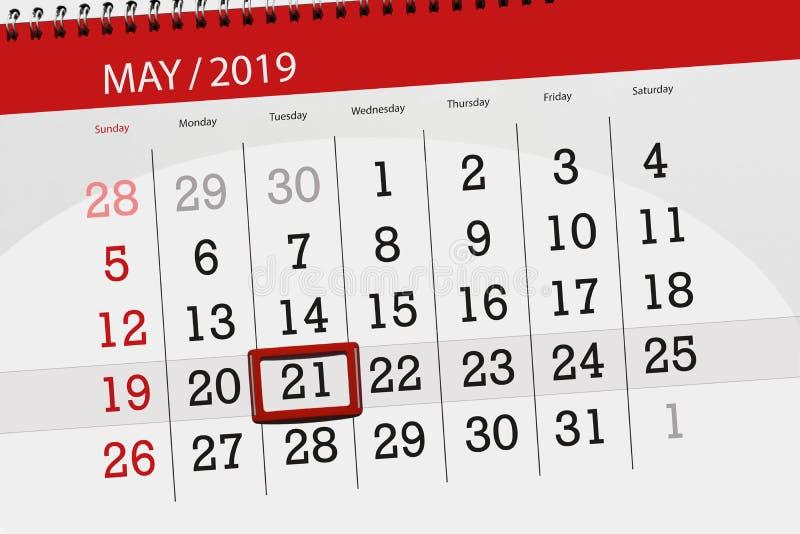 Kalenderplaner für den Monat kann 2019, Schlusstag, Dienstag 21 lizenzfreie stockfotos