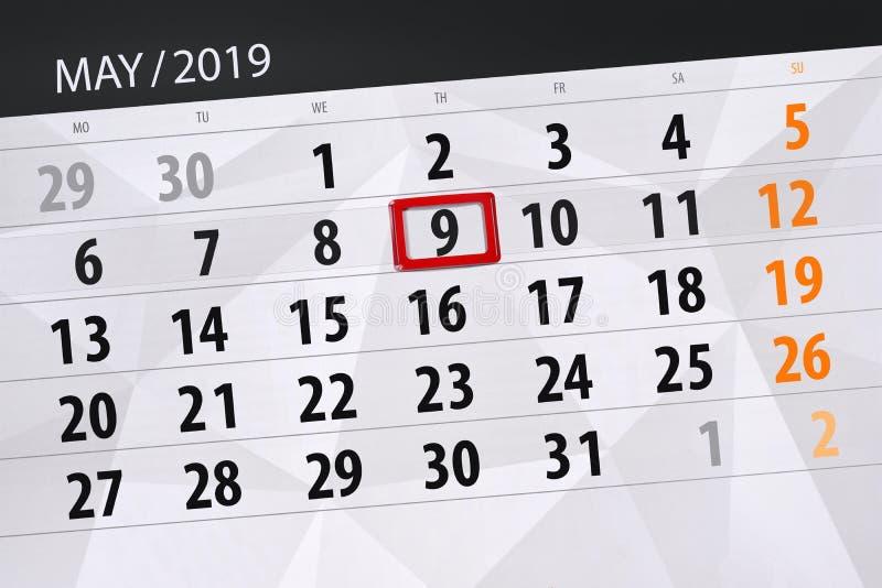 Kalenderplaner für den Monat kann 2019, Schlusstag, Donnerstag 9 stockbilder