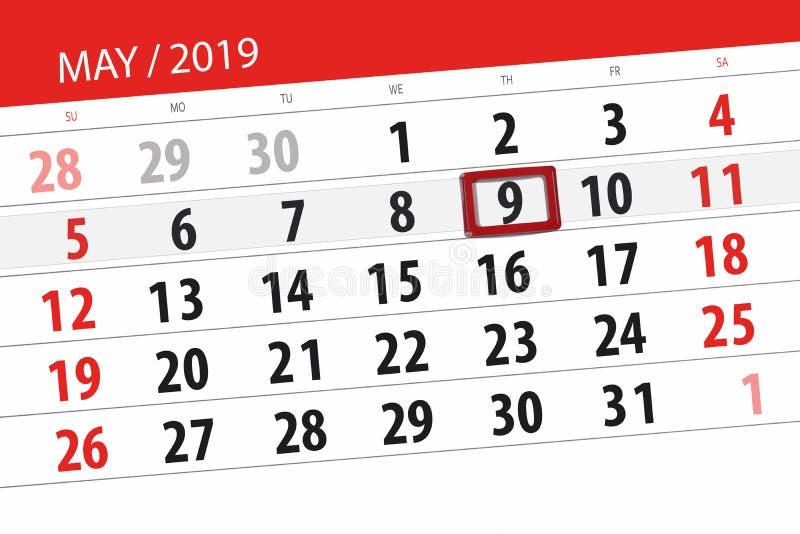Kalenderplaner für den Monat kann 2019, Schlusstag, Donnerstag 9 lizenzfreie stockbilder