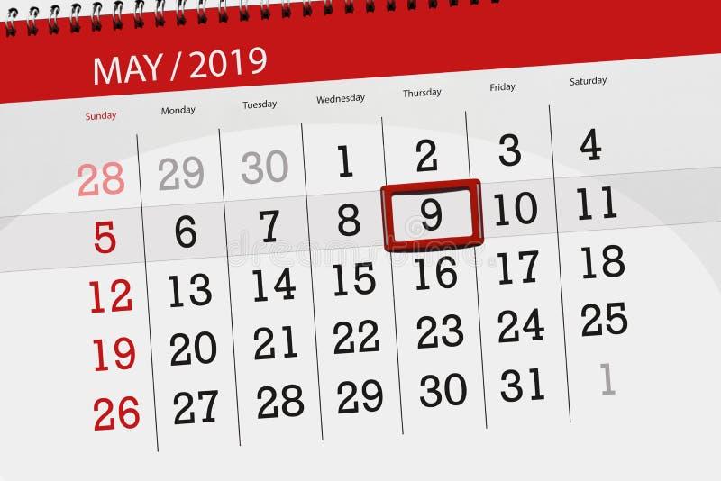 Kalenderplaner für den Monat kann 2019, Schlusstag, Donnerstag 9 stockfotografie
