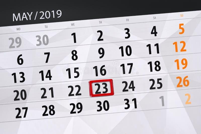 Kalenderplaner für den Monat kann 2019, Schlusstag, Donnerstag 23 stockbilder