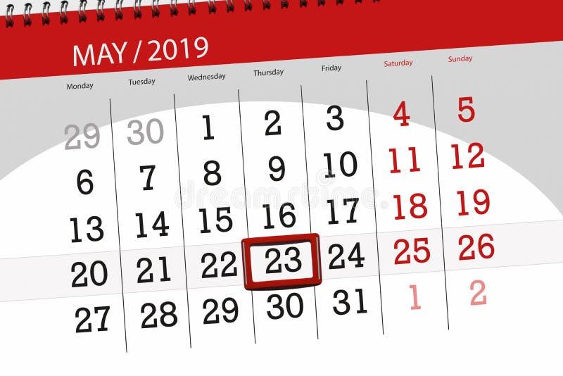 Kalenderplaner für den Monat kann 2019, Schlusstag, Donnerstag 23 lizenzfreies stockbild