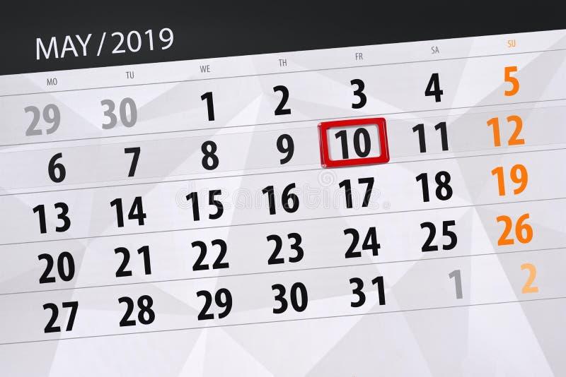 Kalenderplaner für den Monat kann 2019, Schlusstag, Freitag 10 lizenzfreies stockfoto
